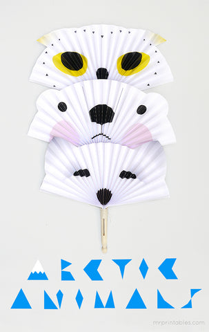 Artic Animal Paper Fan Toy Free Printable Project