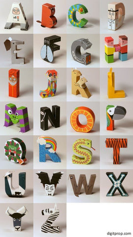 Picture Alphabet Letters by Digitprop Animal Character Free Paper Template Printables