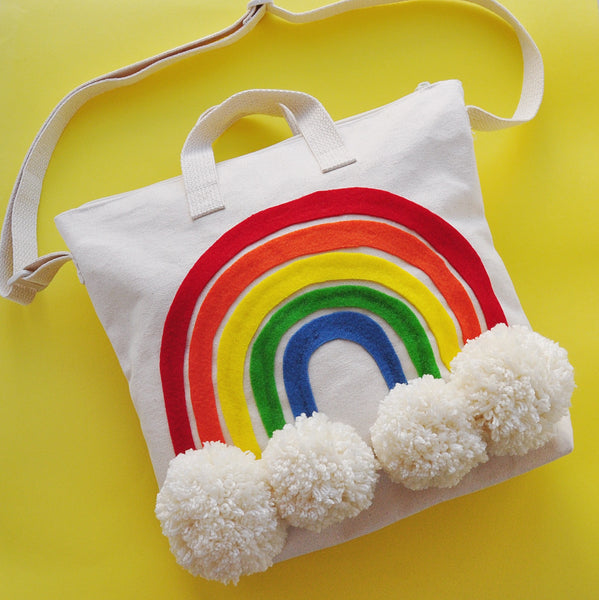 rainbow diy pom pom tote bag