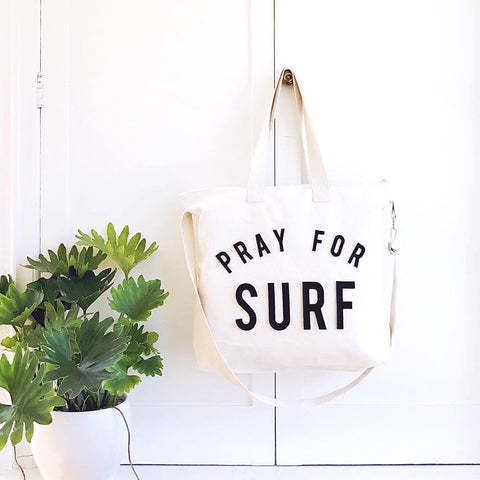pray for surf oversized tote bag