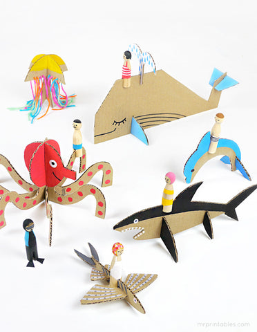 sea creature paper toy free printable paper folding craft