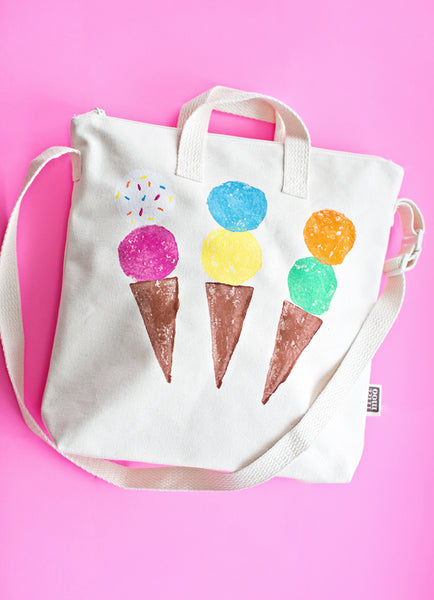 hand stamping ice cream tote bag diy blank design