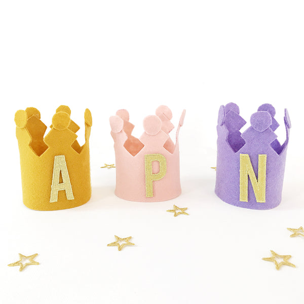 Felt Crown DIY personalize with your child name with iron on patches.