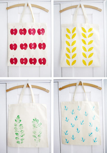 Hand Stamped Patterns DIY Tote Bag Design