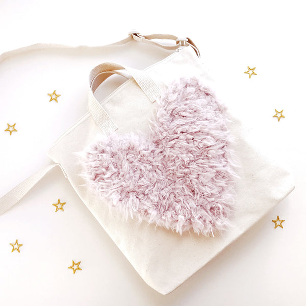 DIY Easy Heart Tote Faux Fur Applique Sewing for Little Kids