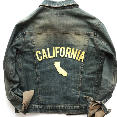 California Love Gold State Metallic Gold Letters and Travel Patch