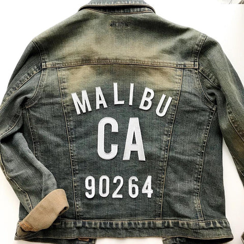 DIY City Zip Code Denim Jacket Metallic Iron on Letters Mamoo Round Up