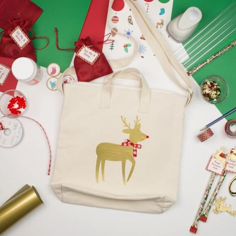 DIY Ways to Decorate A Blank Tote Bag Holiday Stocking Stuffer Reindeer Bag