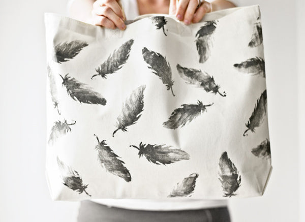 Ombre Sweet Potato Feather Hand Stamped Blank Canvas Tote Bag DIY Design