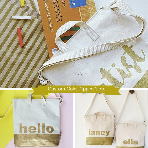 Custom Gold Dipped Personalized Tote DIY