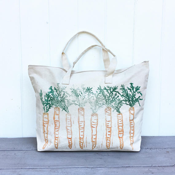 Blank Canvas Tote Bag Block print