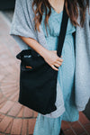 Natural 100% Cotton Medium Blank Black Canvas Adult Zipper Lined Tote Bag With Inside Pockets And Adjustable Crossbody Straps