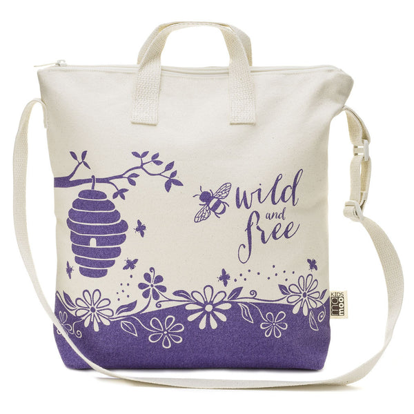 Bee Wild And Free Kids Zipper Tote Bag Locally Made