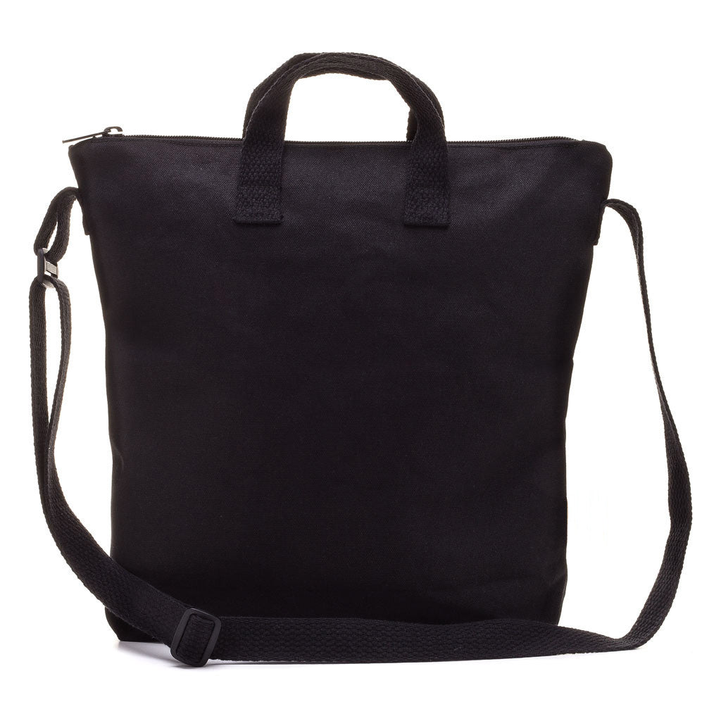 2892a8c7414 Natural 100% Cotton Black Adult Small Canvas Blank Zipper Tote ...