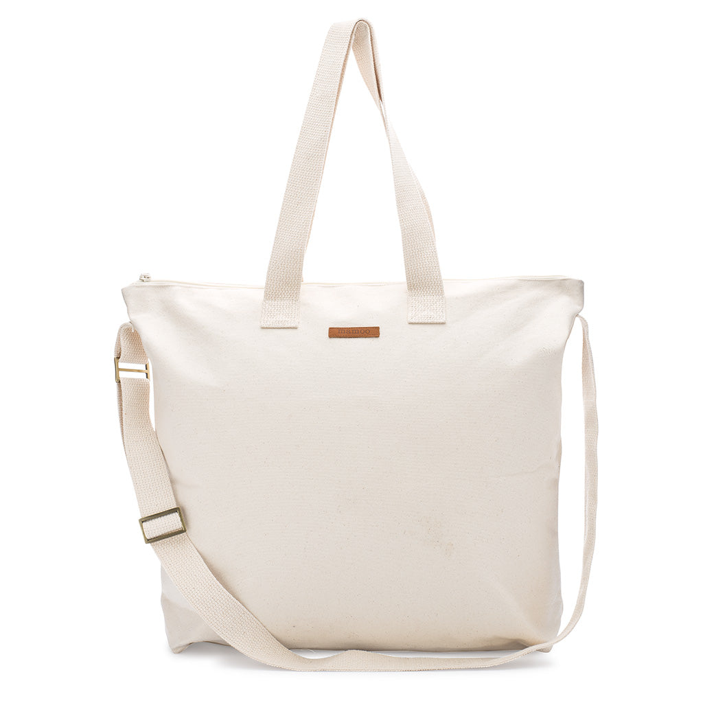 3441b77720a Natural 100% Cotton Blank Canvas Oversized Zipper Tote Shopping Bag ...