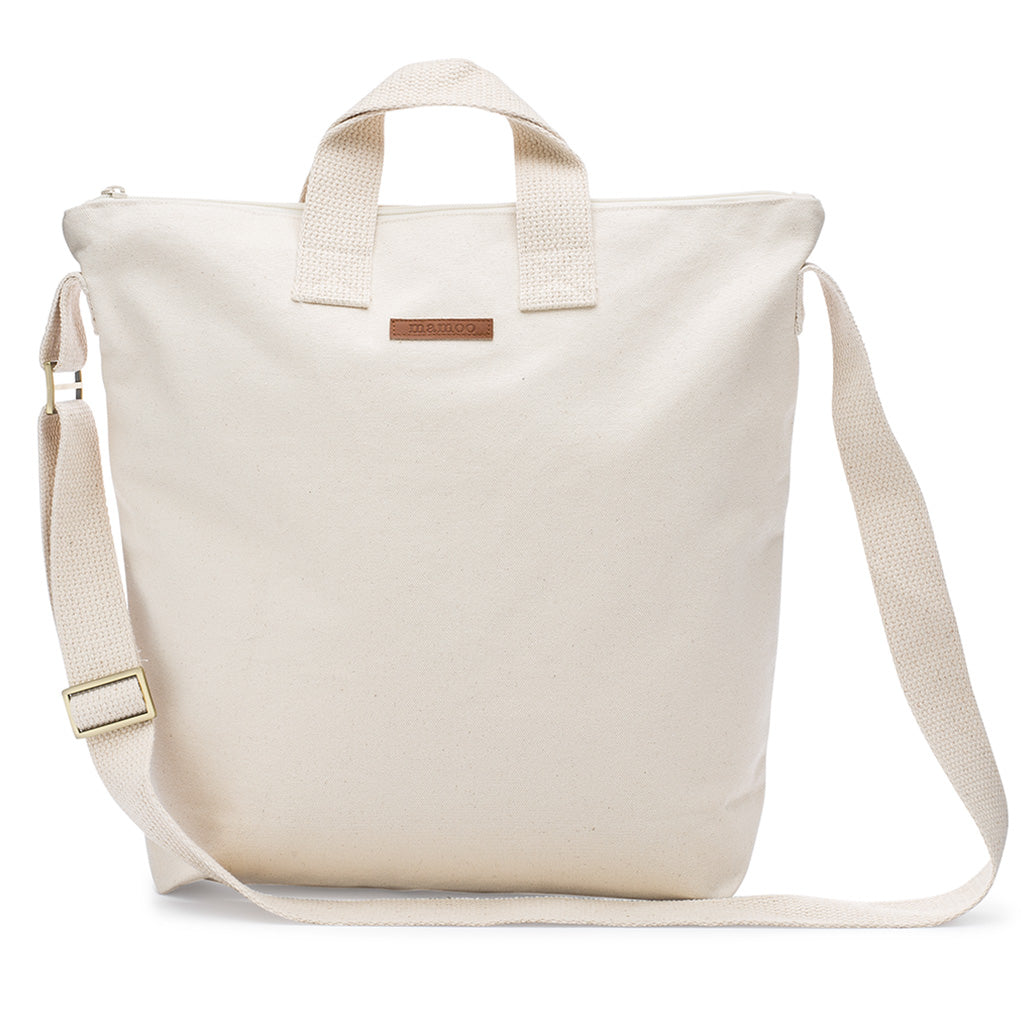 1dd89498b4cf1 Natural 100% Cotton Blank Adult Medium Canvas Zipper Lined Tote Bag With  Inside Pockets