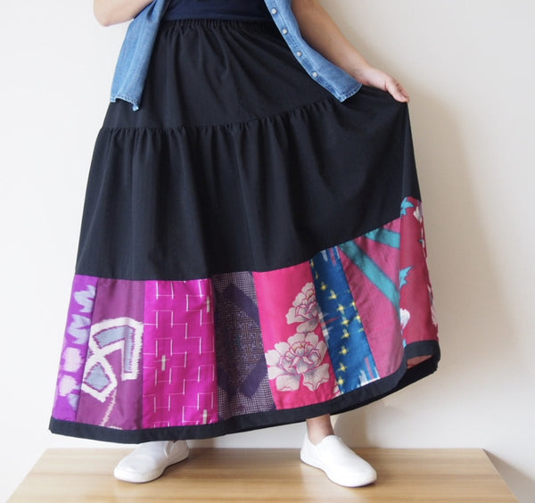 <RS13S05-012> PATCHWORKED SKIRT LONG