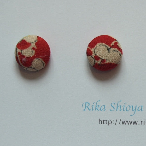 FV15E01-046> Covered Button Earrings  - KIMONO
