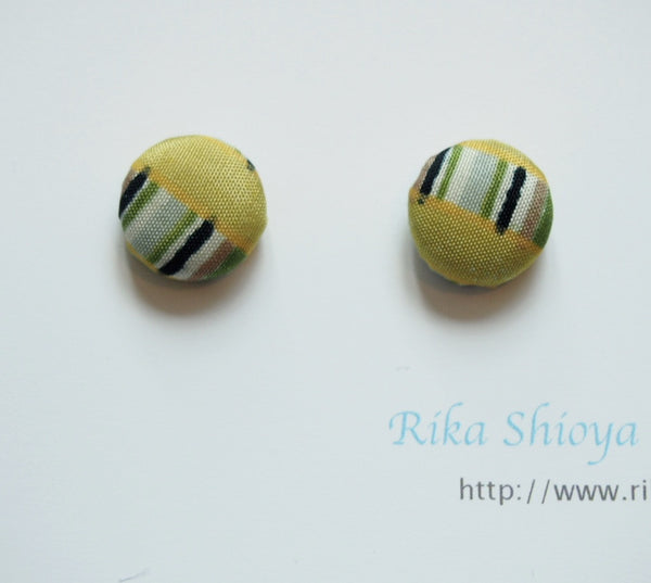 FV15E01-048> Covered Button Earrings  - KIMONO