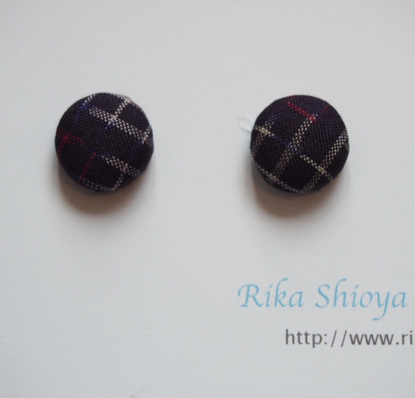 FV15E01-049> Covered Button Earrings  - KIMONO