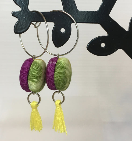 FV15E02-021> Covered Button Earrings  - KIMONO SWING