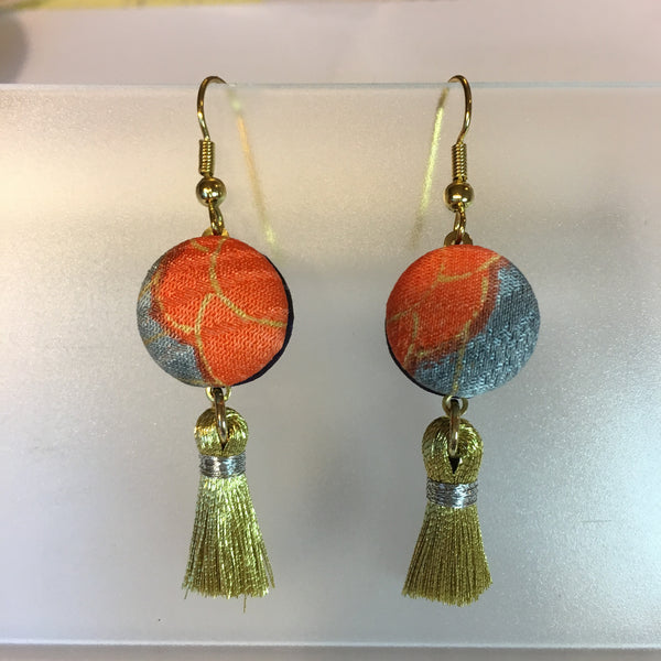 FV15E02-022> Covered Button Earrings  - KIMONO SWING