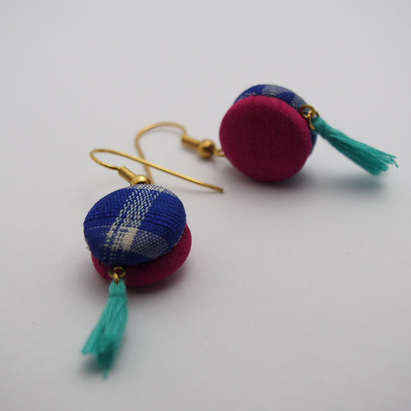 FV15E02-026> Covered Button Earrings  - KIMONO SWING