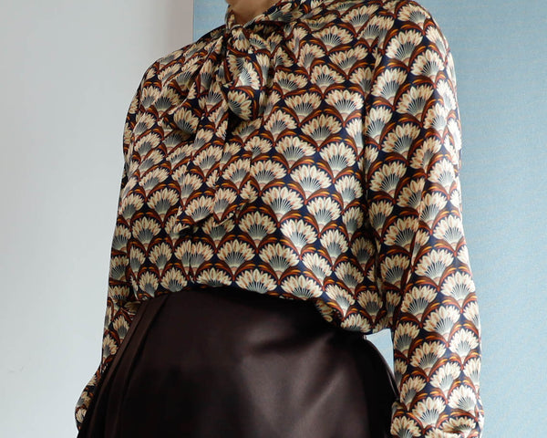 <RS20T18F>  PRINT Blouse -Japanese Fans