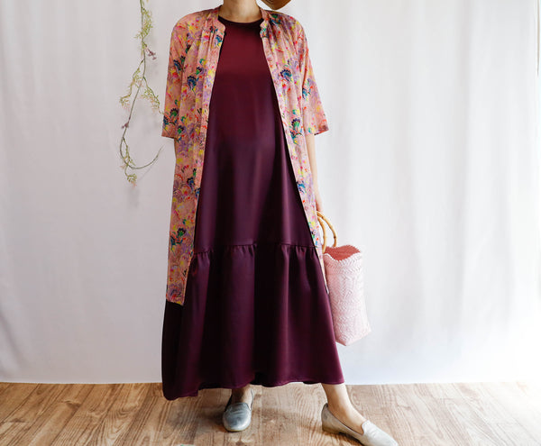 <RS20D18W>  Drop ruffle maxi satin Dress Wine