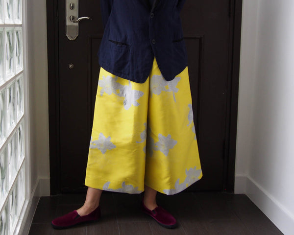 <RS18P06D-001> CRAZY WOVEN TEXTILE trousers YELLOW