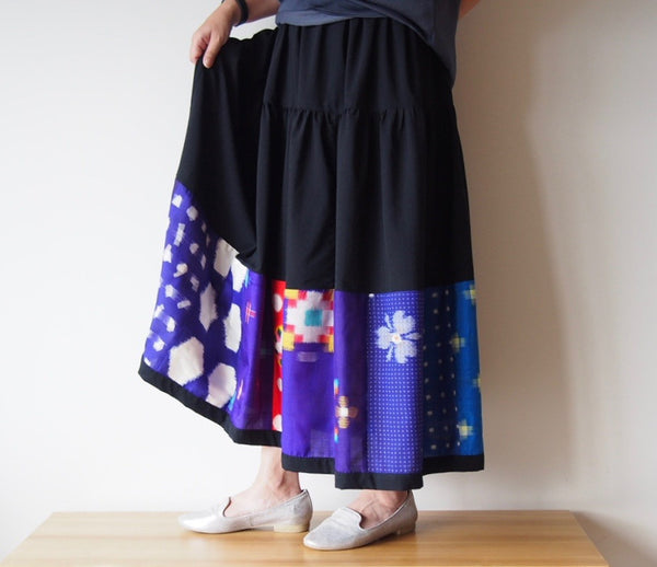 <RS13S05-008> PATCHWORKED SKIRT LONG PURPL