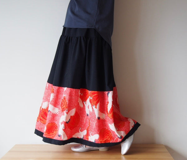 <RS13S05-006> PATCHWARKED SKIRT LONG -Red
