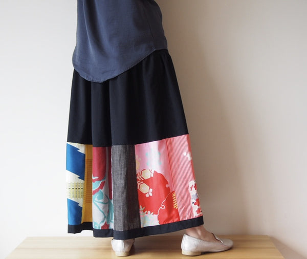 <RS13S05-005> PATCHWORKED SKIRT LONG