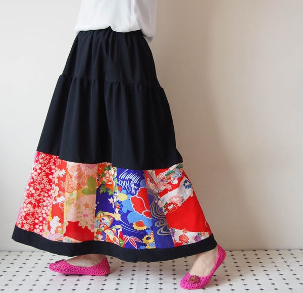<RS13S05-023> KIMONO Patch-worked SKIRT LONG