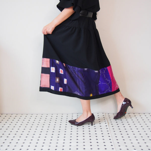 <RS18S20-001> KIMONO Pachworked S Skirt -LONG