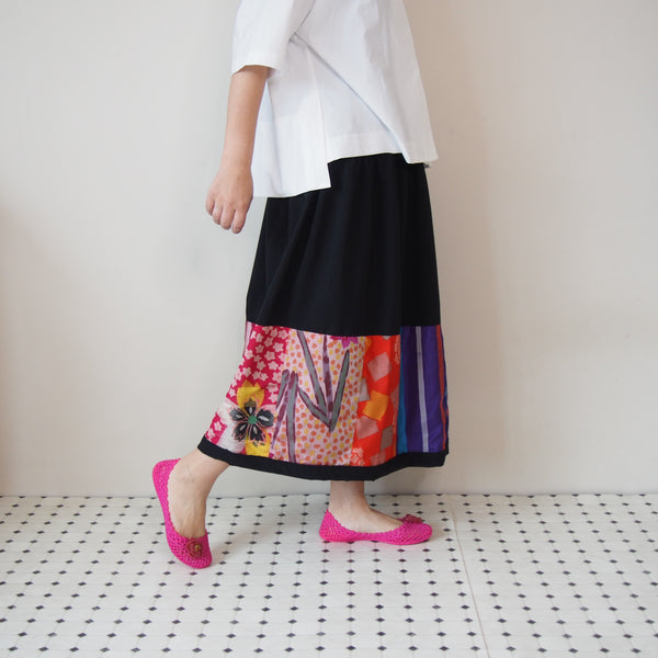 <RS18S20-002> KIMONO Pachworked S Skirt -LONG