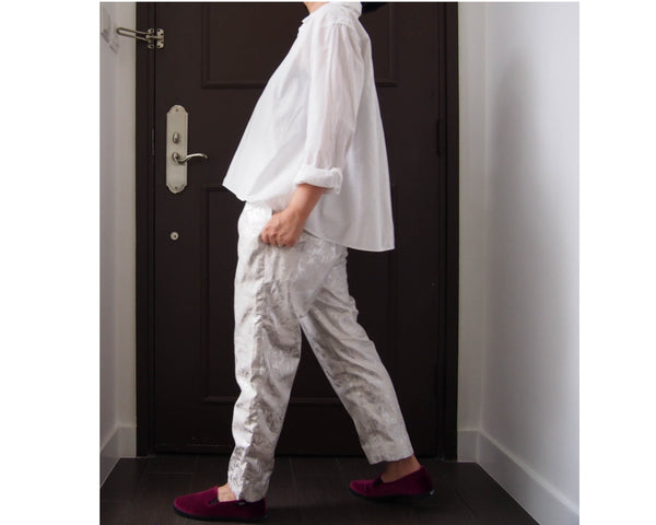 <RS18P10Z-001> Tapered Pants -SILVER WHITE