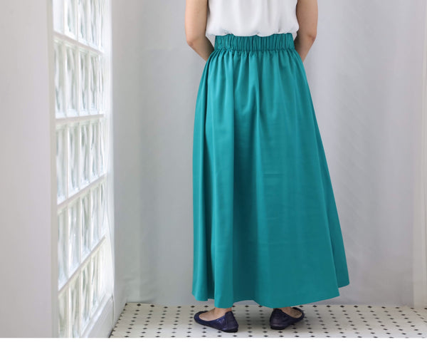 <RS20S23V> SATIN SKIRT Green