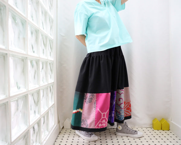 <RS13S05-024> KIMONO Patch-worked Skirt -LONG