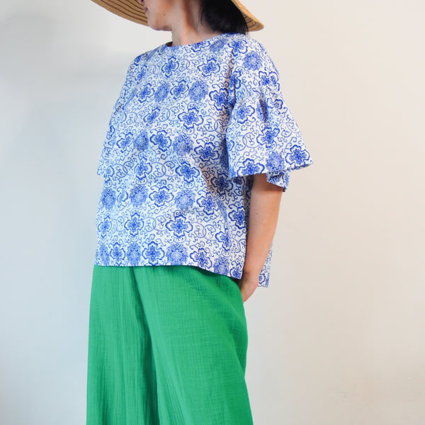 <RS18T13-002> OKINAWA Top Frilled Sleeves