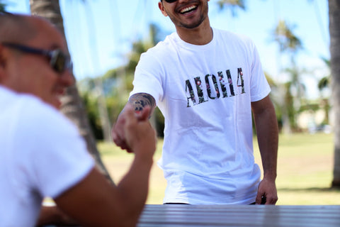 A picture of Aloha Mingo Fill white T shirt