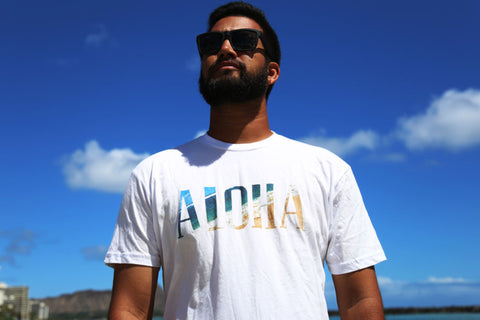 A picture of front side Aloha North Fill White T shirt