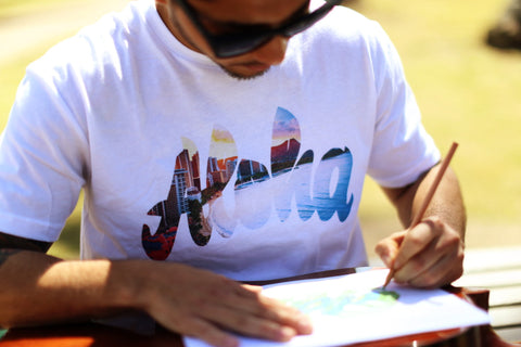 A picture of Aloha Script Waikiki white T shirt