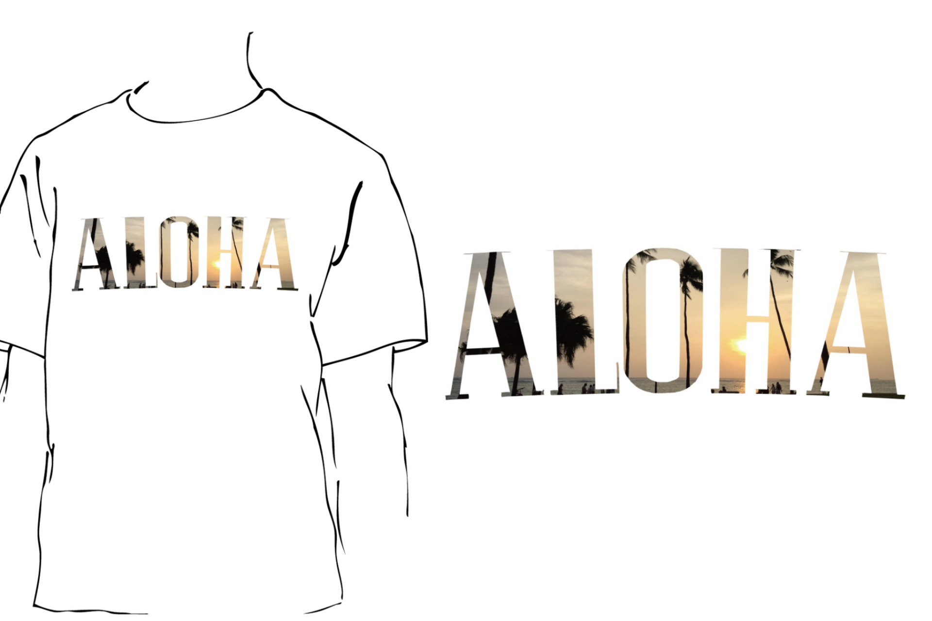 A image of Aloha Sunset Fill White T shirt