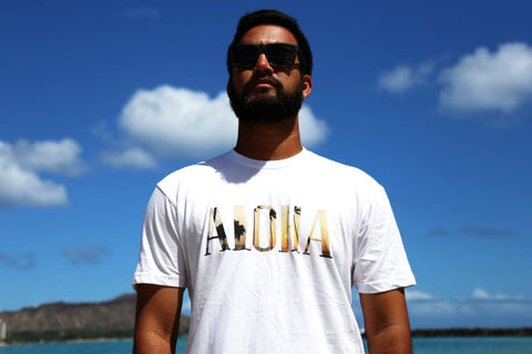 A picture of front side Aloha Sunset Fill White T shirt