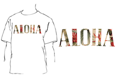 A image of Aloha Vintage Fill T shirt with white
