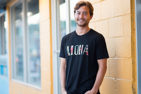 A picture of Aloha Vintage Fill Black T shirt