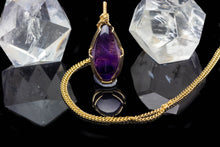 Load image into Gallery viewer, Protection: Gold Amethyst Pendant