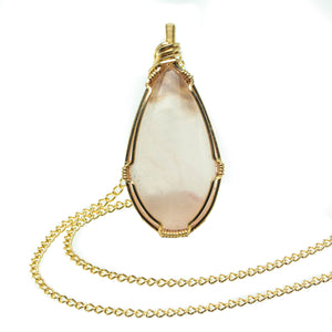 Love: Rose Quartz in Gold Pendant