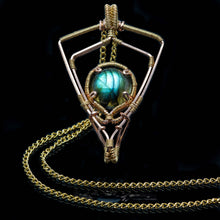 Load image into Gallery viewer, Shield of Magic: Labradorite Pendant Gold
